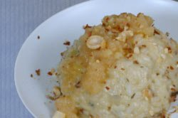 blue cheese risotto with bacon, hazelnuts and pear sauce