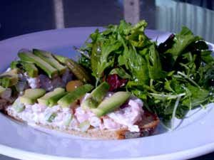 shrimp and avocado tartine