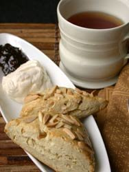 Toasted Almond Scones with cream and jam