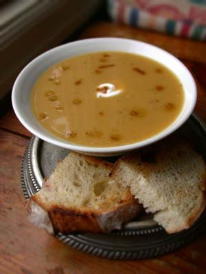 Butternut Squash Soup with Apple and Roasted Hazlenuts