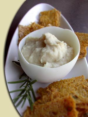 garlicky white bean puree with polenta chips