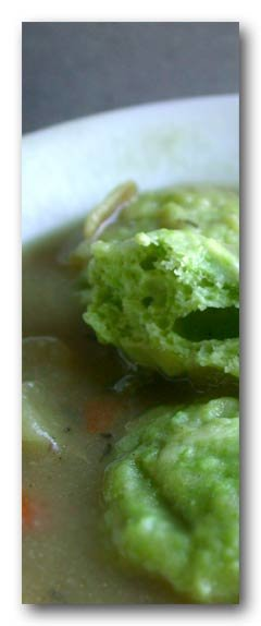 pea dumplings on chicken soup