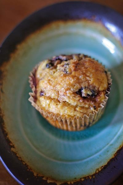 whole orange with blackberry muffin